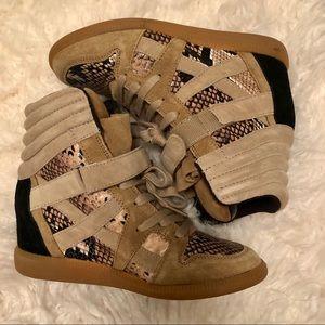 Zara Snakeskin Wedge Sneakers